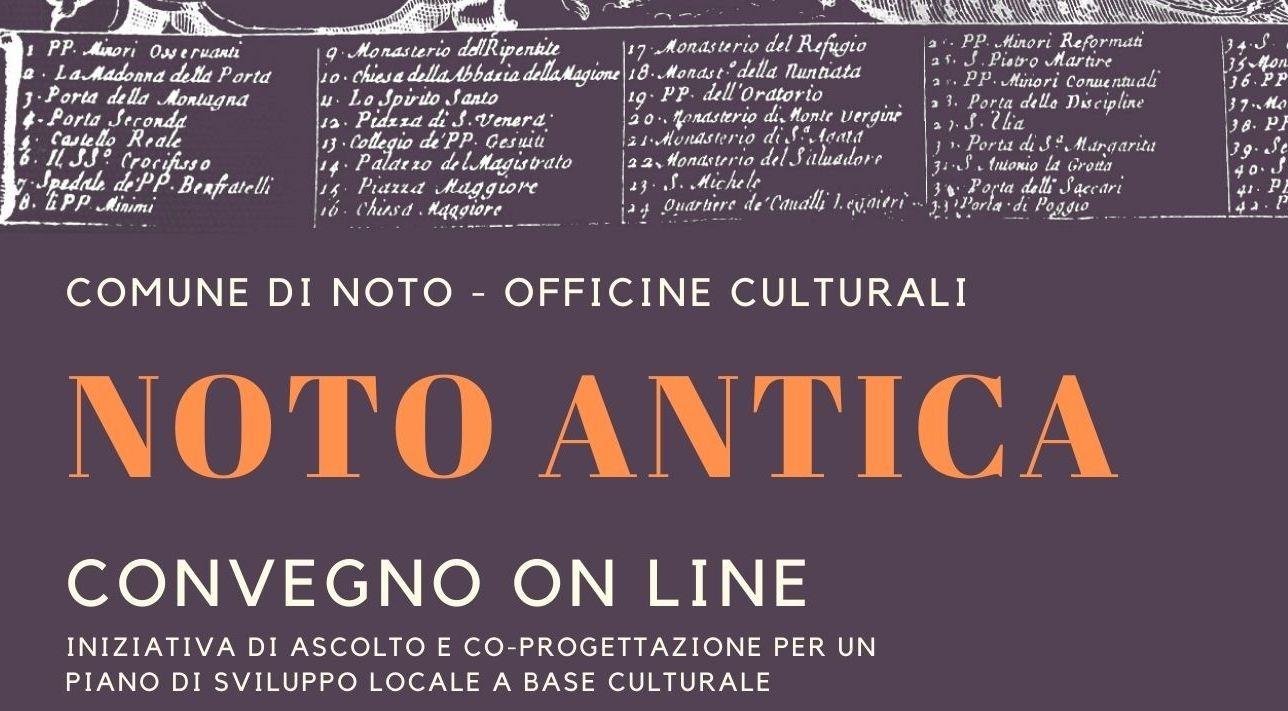 Il Comune di Noto e Officine Culturali presentano un convegno online su Noto Antica