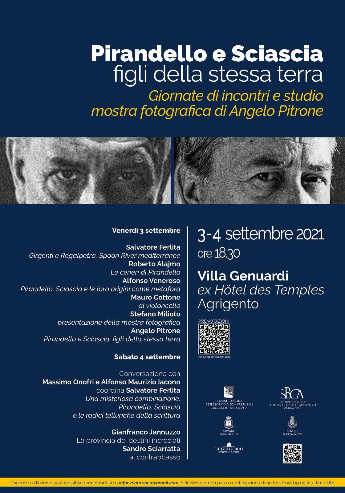 """AGRIGENTO: """"Figli della stessa terra"""" giornata di studi, mostra e performance teatrali tra Sciascia a Pirandello"""