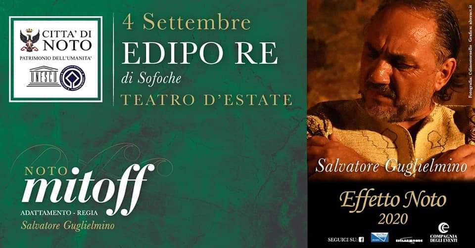 """Continua la rassegna teatrale Mitoff: a Noto, Salvatore Guglielmino interpreta """"Edipo Re"""""""